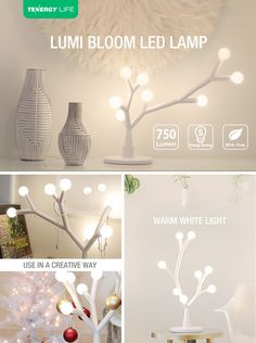 Tenergy Lumi Bloom 8W 750LM Decorative Lamp, LED DIY Table Lamp with Creative Branches, Modern Lamp with 8 Warm White Bulbs for Office/Bedroom/Living Room - - Amazon.com