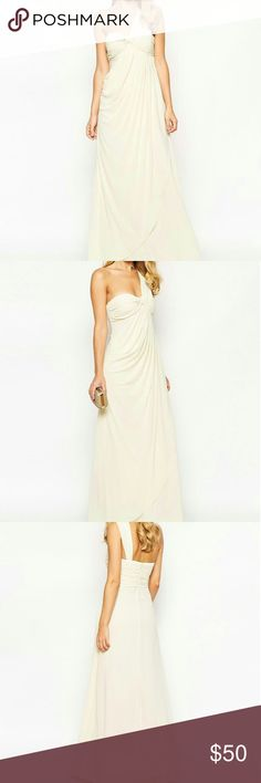 Jarlo Claudia Dress This is a one shoulder chiffon gown by Jarlo a brand of Asos it is 100% polyester has extra lining which is also 100% polyester designed in London manufactured in China is dry clean only is cream in color comes with original manufacture tags ASOS Dresses