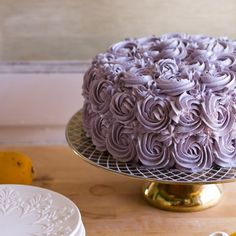 Lemon Layer Cake with Blueberry Lavender Buttercream ~ 15 ingredients Lavender Cake, Lavender Flowers, Cupcakes, Cupcake Cakes, Lemon Layer Cakes, Cake Recipes, Dessert Recipes, Just Cakes, Love Cake