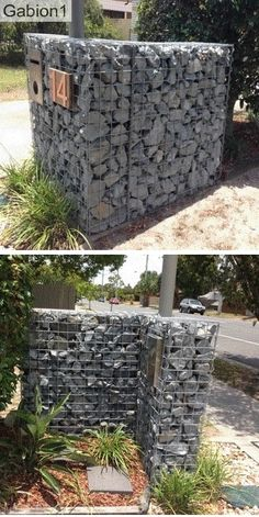 front and back views of gabion mail box http://www.gabion1.com