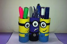 DIY Minion Pen Stand using toilet rolls!