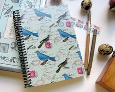 Blue Birds and Stamps  Spiral Notebook 5 x 7 by Ciaffi on Etsy, $15.00