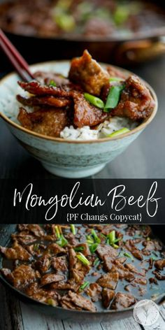 PF Changs Mongolian Beef made with flank steak and scallions in the comfort of your own home with a few simple ingredients. #beef #copycatrecipe Healthy Recipes On A Budget, Vegetarian Recipes Dinner, Dinner Healthy, Asian Recipes, Beef Recipes, Cooking Recipes, Kitchen Recipes, Chicken Recipes, Meat Appetizers