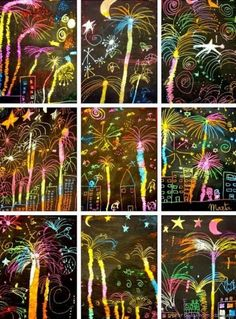 Happy new year! Easy craft for a new year's party. Get the scratch art paper and let the kids make their own fireworks! Happy new year! Easy craft for a new year's party. Get the scratch art paper and let the kids make their own fireworks! New Year's Crafts, Crafts For Kids, Bonfire Night Crafts, Bonfire Night Ks2, Bonfire Night Activities, Kratz Kunst, Arte Elemental, Fireworks Art, Firework Art Ks1