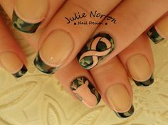 Breast Cancer Camo Nails by from Nail Art Gallery Camo Nail Designs, Cute Acrylic Nail Designs, Nail Polish Designs, Cute Acrylic Nails, Nail Art Designs, Camo Nail Art, Camouflage Nails, Camo Nails, Perfect Nails