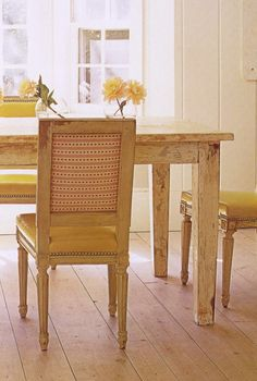 Distressed table and chairs.