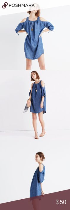 Madewell chambray cold shoulder dress Madewell cold shoulder chambray dress!  Very good condition!  Get it before it's gone! Madewell Dresses