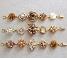Vintage earring bracelets champagne pearl by ChicMaddiesBoutique