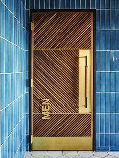 Floor to ceiling tile in 3x12s in Adriatic Sea.