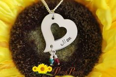 "MOTHER'S DAY NECKLACE DESCRIPTION: Personalized heart shaped stainless steel necklace with birthstones. Designed by Pretty Prairie Designs.   ✫✫✫ SPECIAL PROMOTION DISCOUNT CODE ✫✫✫ During checkout enter coupon code PPD10 and receive 10% off your order   ❤ DISC SIZES/MATERIALS: The heart disc is made of stainless steel and won't tarnish or fade and is approx. 1"" wide.  #mothersday #mothersdayjewelry"