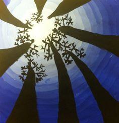 Kunst in der Grundschule: Baume von unten