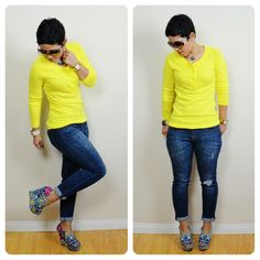 mimi g.: Im Back! OOTD: Yellow Sweater + Printed Wedges