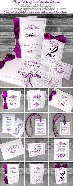zaproszenia ślubne - Sophie - ze wstążką i proste. Fioletowe, oryginalne, stylowe, piękne zaproszenia na ślub i wesele.