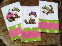 Set of 3 baby girl sock monkey burp cloths by sewsosweetdesigns, $30.00