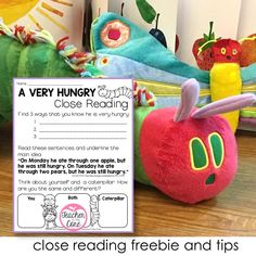 The Very Hungry Caterpillar- Close Reading- Gifted Resource Close Reading Activities, Teaching Activities, Teaching Reading, Just Right Books, Teacher Resources, Resource Teacher, Reading Buddies, Beginning Of School, Primary School