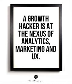 Growth Hacking is at the nexus of analytics, marketing and UX.