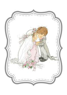 wedding, bride and groom Cute Images, Cute Pictures, Wedding Topper, Wedding Bride, Printable Cards, Printables, Whimsical Christmas, Congratulations Card, Baby Art
