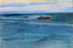 Τέτσης Παναγιώτης-Θάλασσα_03 Life Aquatic, Greek Art, Seasons, Watercolor, Landscape, Illustration, Artwork, Artist, Pictures