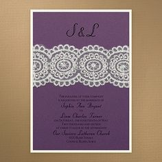 Bridal Lace & Pearls - Invitation - Purple Shimmer Lace and pearls create the vintage elegance of this layered invitation featuring purple shimmer over ecru. Wedding Couples, Wedding Day, Lace Wedding Invitations, Lace Patterns, Color Of The Year, Lace Design, Bridal Lace, Pantone Color, Special Day