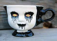 Hand Painted, Ceramic 3 inch Corpse Paint Teacup