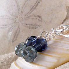 Short Earrings - Blue Earrings - Dangle - Beaded Earrings - Beaded Jewelry - Montana Blue Series - Montana Blue and Luster Blue Earrings