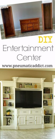 Entertainment Center Learn how to take a few thrift store finds and turn them into a large, custom, DIY entertainment center.Learn how to take a few thrift store finds and turn them into a large, custom, DIY entertainment center. Furniture Projects, Furniture Making, Furniture Makeover, Home Projects, Diy Furniture, Lounge Furniture, Furniture Plans, Homemade Furniture, Furniture Buyers