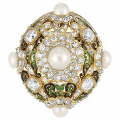 Antique Gold, Natural Pearl, Diamond and Enamel Brooch, circa 1870.