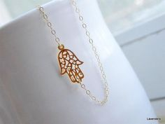 Sideways Hamsa Necklace , Gold Horizontal Hamsa , 14kt Gold Fill , Filigree Hand Charm , Eveil Eye , Hamsa Jewelry via Etsy