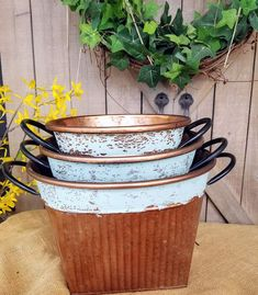 Set of 3 Bronze round metal containers, Home decor metal containers/baskets home decor by FarmHouseFloraLs on Etsy