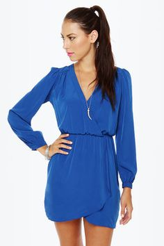 That's a Wrap Blue Long Sleeve Dress at LuLus.com! #lulus #holidaywear