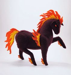 Items similar to Red Fire Horse Halloween Nightmare Designer Plush - Felt Stuffed Animal, Soft Sculpture, Pony Plush on Etsy Fuzzy Felt, Wool Felt, Sewing Crafts, Sewing Projects, Horse Pattern, Animal Crafts, Felt Toys, Stuffed Animal Patterns, Plushies