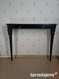Konsola na toczonych nogach z szufladką, meble, wnętrze, stylowe, glamour, wystrój wnętrz, dom, Wymiary: 90x28 h80 cm