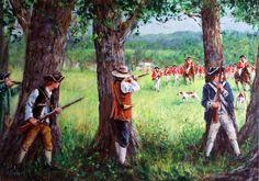 American militiamen firing at the British Redcoats
