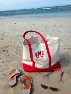 monogrammed tote-- not sure I like the color, but I love the whole bag and it's perfect for the beach!