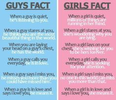 Guy and Girl Facts....Interesting.