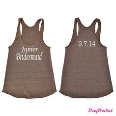 Junior Bridesmaid Tank Top with Personalized Date
