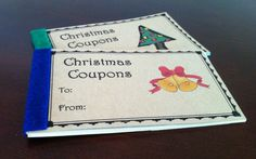 inexpensive coupon book. One for kids and one for parents. Good idea!!