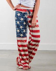 Women Red American Flag Pattern Drawstring Casual Pants - S Trend Fashion, Women's Fashion, Fashion Outfits, Ladies Fashion, Fashion Pants, Female Fashion, Fall Outfits, Style Casual, Comfy Casual
