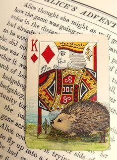 Hedgehog ACEO  Vintage Playing Card Altered by TheKestrelAndTheSea, £8.00