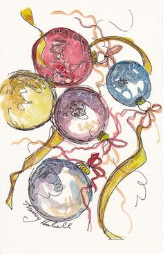 Five Christmas Ornaments Painting