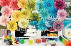 lovely bright paper decorations! Special! Good idea for a birthday party!