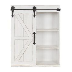 Kate and Laurel Cates Modern Farmhouse Wood Wall Storage Shelving Cabinet with Sliding Barn Door, Rustic White Wall Storage Cabinets, Wall Mounted Bathroom Cabinets, Wall Shelving Units, Hanging Cabinet, Cabinet Decor, Hanging Storage, Storage Shelves, Wall Shelves, Smart Storage