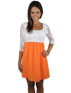 Game Day Short Dress With Lace Top – Orange