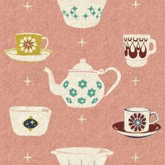 Ruby Star Rising Vintage Dishes Pink