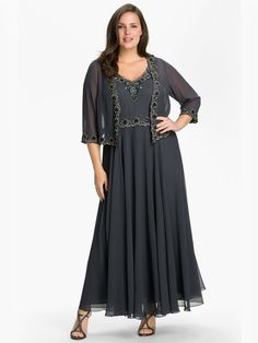 A-Line/Princess V-neck Sleeveless Ankle-Length Beading Chiffon Plus Size Dresses