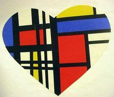 Mondrian valentine- Make a valentine for a famous artist. Piet Mondrian, Mondrian Kunst, Mondrian Art Projects, School Art Projects, Valentines Art Lessons, 6th Grade Art, Ecole Art, Art Lessons Elementary, Kindergarten Art