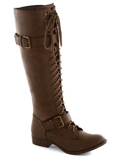 Assured and Swift Boot - Solid, Buckles, Steampunk, Lace Up, Low, Faux Leather, Good, Brown, Casual, Vintage Inspired