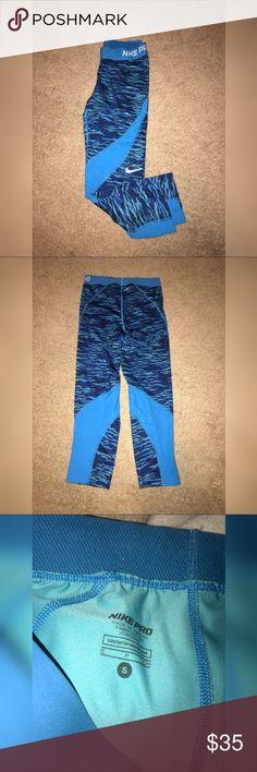 Nike Pro Leggings Blue nike pro- crop leggings. Great condition! Nike Pants Leggings
