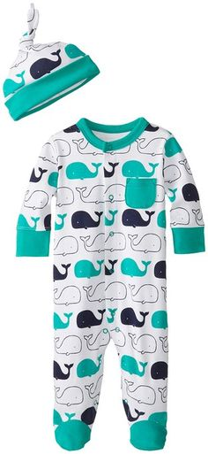 Offspring - Baby Apparel Baby-Boys Newborn Whale Footie with Hat, Multi, New Born