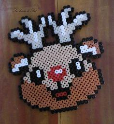 Pat& hobbies - Iron-on beads: Reindeer - Perler Bead Templates, Diy Perler Beads, Perler Bead Art, Pearler Bead Patterns, Perler Patterns, Quilt Patterns, Christmas Perler Beads, Hama Beads Design, Peler Beads